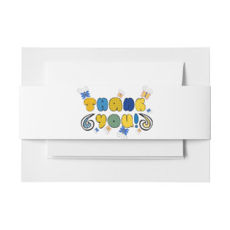 """Thanks"" bold doodle sign with retro halftones Invitation Belly Band"