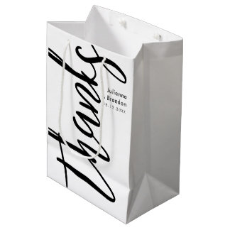 Thanks Caligraphy Black and White Medium Gift Bag