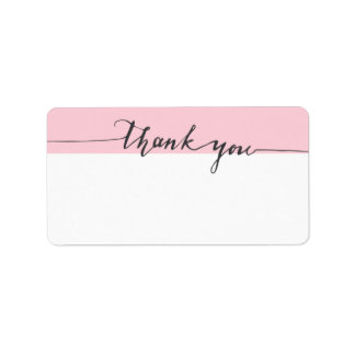 Thanks Calligraphy Pink Color Write-in Address Label
