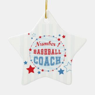 Thanks Coach All-Stars Baseball, Red, Blue Stripes Ceramic Ornament