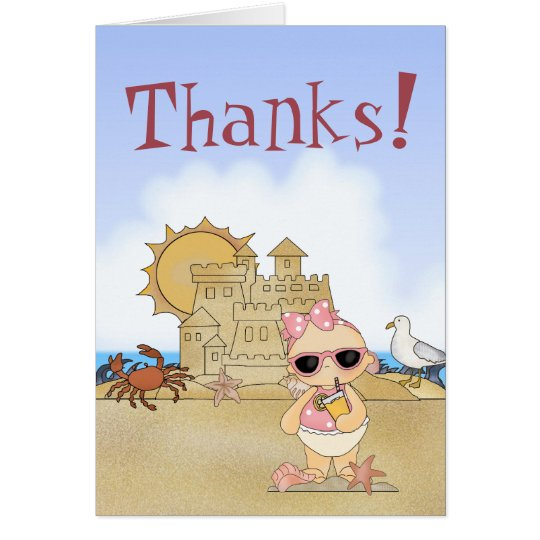 Thanks! Cool Beach Baby Thank You Card ~ Girls