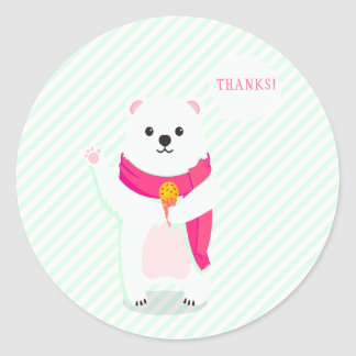 Thanks| Cute Polar Bear Mint Baby Shower Stickers