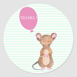 Thanks| Cute Woodland Mouse Baby Shower Stickers