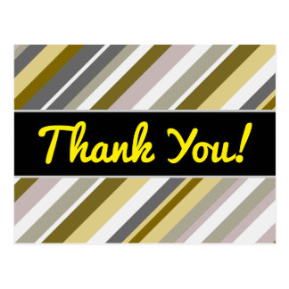 "Thanks + ""Earthy"", Rustic-Like Stripes Pattern Postcard"