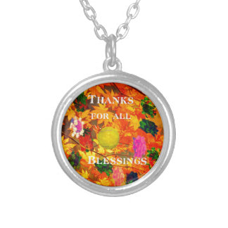 Thanks for blessings silver plated necklace