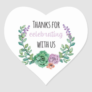 Thanks for Celebrating | Heart Sticker