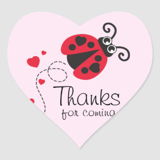 Thanks for coming ladybug girls birthday sticker