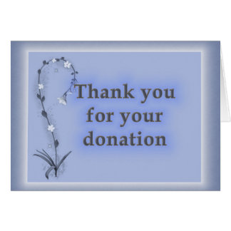 Thanks for Donation, Sophisticated Blue Floral Card