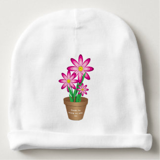 Thanks For Helping Me Grow - Happy Flower Baby Beanie
