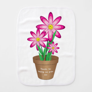 Thanks For Helping Me Grow - Happy Flower Burp Cloth
