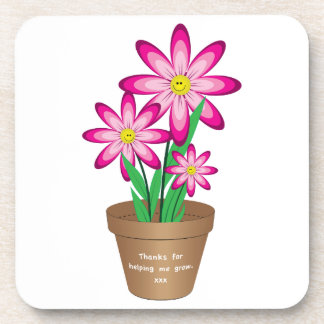 Thanks For Helping Me Grow - Happy Flower Coaster