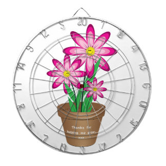 Thanks For Helping Me Grow - Happy Flower Dartboard