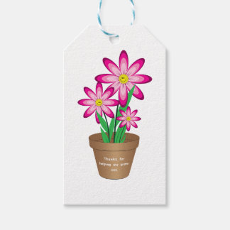 Thanks For Helping Me Grow - Happy Flower Pack Of Gift Tags