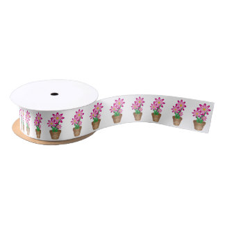 Thanks For Helping Me Grow - Happy Flower Satin Ribbon
