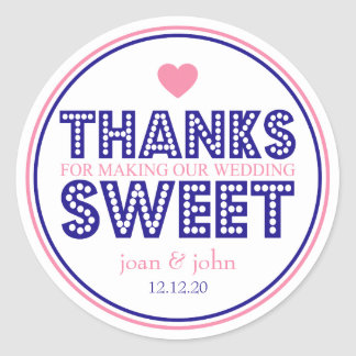 Thanks For Making Our Wedding Sweet (Navy / Pink) Classic Round Sticker