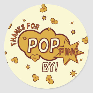 """thanks for popping by"" baby shower party gift classic round sticker"