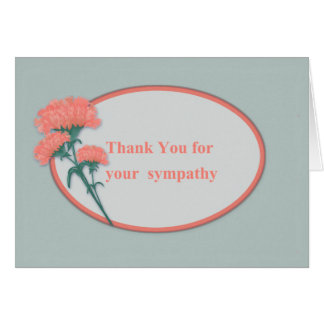 Thanks for Sympathy, Pink Carnations Card