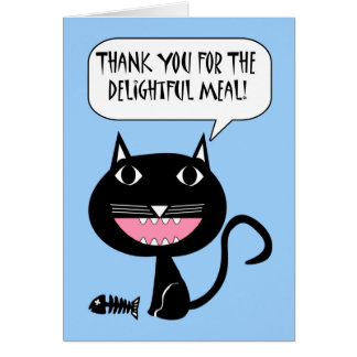 Thanks for the Meal, Cat with Fish Skeleton Greeting Card