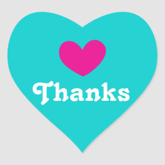 Thanks heart pink aqua white stickers