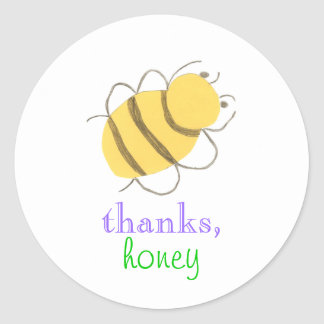 """Thanks honey"" bee sticker"