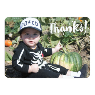 Thanks! in simple white text on custom photo card