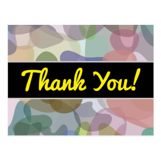 Thanks + Multicolored Watercolor Look Blob Pattern Postcard