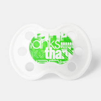 Thanks; Neon Green Stripes BooginHead Pacifier