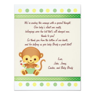 Thanks Note Baby Monkey 4.25x5.5 Paper Invitation Card
