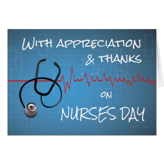 Thanks on Nurses Day Stethoscope and Heartbeat Wav Card