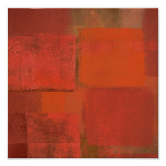 'Thanks' Orange Abstract Art Painting Poster