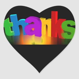Thanks Rainbow Peace Love Party Destiny Digital Heart Sticker