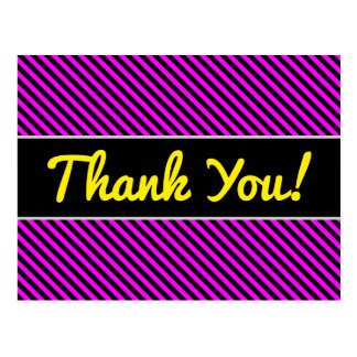 Thanks + Simple Fuchsia & Black Stripes Pattern Postcard