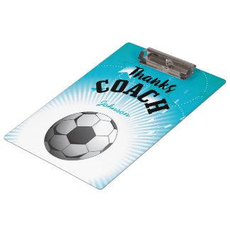Thanks Soccer Coach Aqua Blue Stars Ball Clipboard