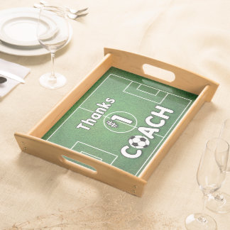 Thanks Soccer Coach Grass Field Serving Tray