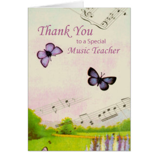 Thanks Teacher, Music, Butterflies Card