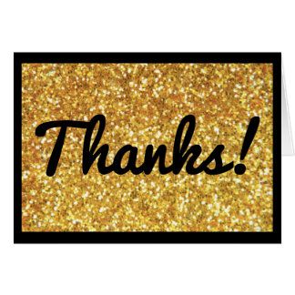 Thanks Thank You Faux Gold Glitter Look Note Card