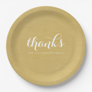 Thanks - Thanksgiving Family Brushed Gold Paper Plate