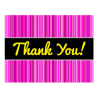 Thanks + Thin Magenta and Pink Stripes Pattern Postcard
