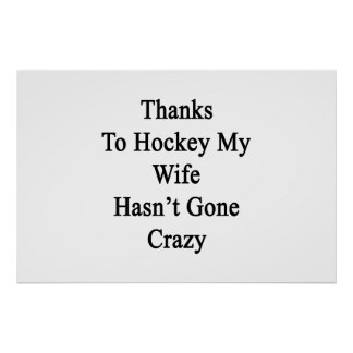 Thanks To Hockey My Wife Hasn't Gone Crazy Poster