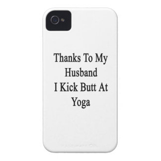 Thanks To My Husband I Kick Butt At Yoga iPhone 4 Case-Mate Cases