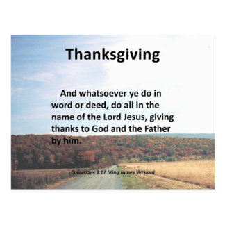 Thanks to the Father Thanksgiving Colossians 3:17 Postcard