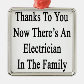 Thanks To You Now There's An Electrician Silver-Colored Square Ornament