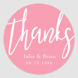 Thanks Typography Bubble Gum Pink Wedding Classic Round Sticker
