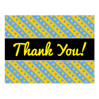 Thanks + Yellow/Blue Hearts and Stripes Pattern Postcard