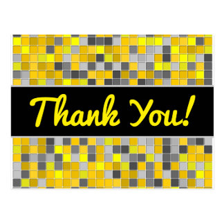 Thanks + Yellows and Grays Tiled Squares Pattern Postcard