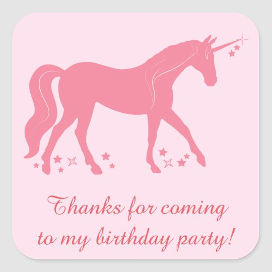 Thanks You for Coming Birthday Party with Unicorn Square Sticker