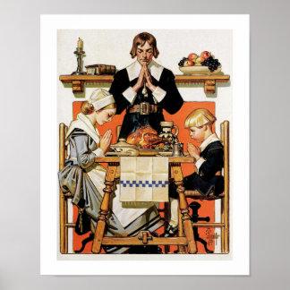 """""""Thanksgiving 1648"""". Affiche vintage d'art"""