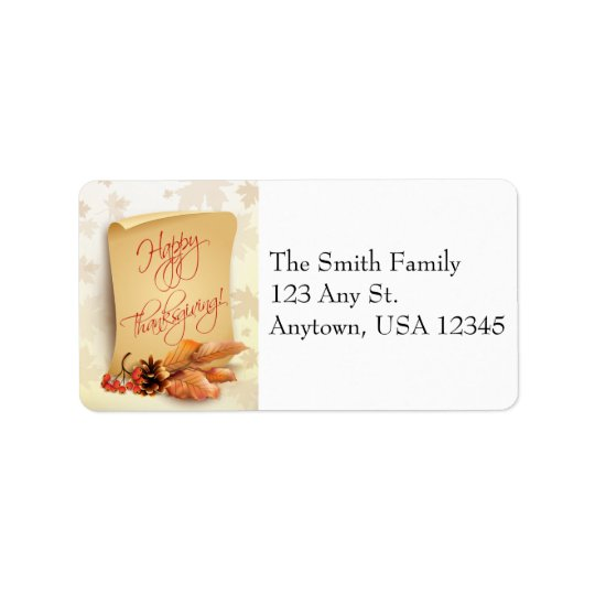 Thanksgiving Address Label with Fall Foliage