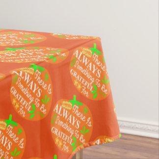 Thanksgiving Always Grateful Pumpkin Print Tablecloth