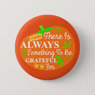 Thanksgiving Always Grateful Pumpkin Typography 2 Inch Round Button